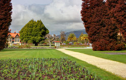 Rotoura Government Gardens. The picturesque Government Gardens in Rotorua, New Zealand, showing the iconic Tudor Towers in the background Royalty Free Stock Image