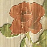 Rotrose auf einem Papierweinlesehintergrund Stockbild