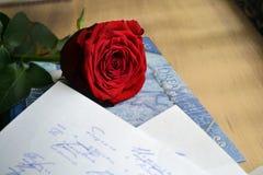 Rotrose liegt auf einer Liebe Stockfoto