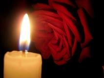 Rotrose und eine Kerze in der Dunkelheit stockfotografie