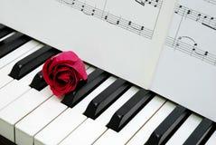 Rotrose und Musikkerbe auf Klaviertastatur Stockfoto