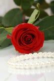 Rotrose und Perlenhalskette Stockfotos