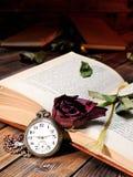 Rotrose verwelkte durch die Seiten eines alten Buches, das von Tim gelb gefärbt wurde Lizenzfreies Stockfoto