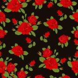 Rotrosen-Blumenmuster auf schwarzem Hintergrund Stockbilder