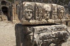 Rots-besnoeiing graven in Myra, Demre, Turkije, Scène 6 stock foto's