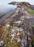 Rots in de fjord van Oslo, met kleurrijke mossen wordt behandeld dat royalty-vrije stock afbeeldingen