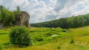 Rots dichtbij een stroom in een zonnige de zomerdag Stock Afbeelding