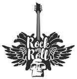 Rots - en - broodjesbanner met gitaar, vleugels en schedel royalty-vrije illustratie