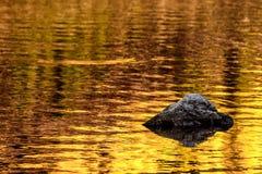 Rots en de gouden bezinningen van het de herfstmeer stock afbeelding