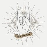 Rots - en - de hand van de broodjesmuziek Typografie grafisch voor kleren met zonnestraal en lint Druk voor t-shirts, affiche, kl Royalty-vrije Stock Afbeeldingen