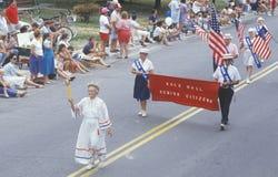 Rots Hall Senior Citizens Marching in 4 de Parade van Juli, Rotszaal, Maryland Royalty-vrije Stock Fotografie