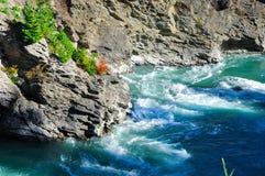 Rots met snelle, Paradijsplaatsen in Zuid-Nieuw Zeeland stock afbeelding