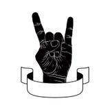 Rots op hand creatief teken met lint, muziekembleem, rots n rol Stock Foto