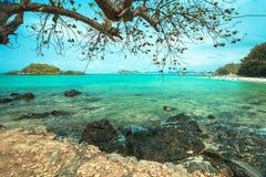 Rots op strand met de oceaan Royalty-vrije Stock Afbeeldingen