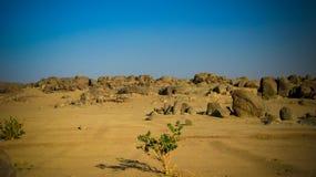Rotsachtig landschap dichtbij Derde Cataract van Nijl dichtbij Tombos, de Soedan royalty-vrije stock afbeeldingen
