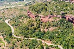 Rotsachtig landschap rond Siurana DE Prades, Tarragona, Catalunya, Spanje Hoogste mening Stock Foto's