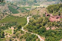 Rotsachtig landschap rond Siurana DE Prades, Tarragona, Catalunya, Spanje Hoogste mening Royalty-vrije Stock Foto