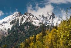 Rotsachtige bergen in de sneeuw Stock Afbeelding