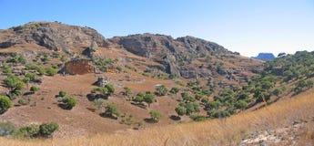 Rotsachtige bergen en savanne Royalty-vrije Stock Afbeelding