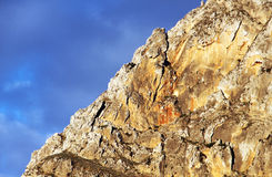 Rotsachtige bergenbovenkant, dichtbij zonsondergang, Sicilië Royalty-vrije Stock Foto