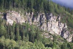 Rotsachtige dagzomende aardlagen op de helling Stock Foto's