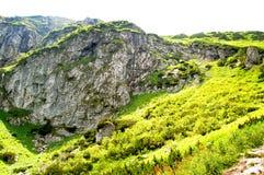 Rotsachtige die berghelling met gras wordt behandeld Royalty-vrije Stock Afbeeldingen