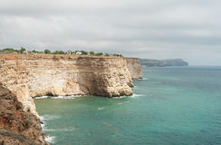 Rotsachtige kaap Fiolent in de Zwarte Zee, de Krim Royalty-vrije Stock Fotografie
