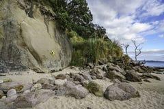 Rotsachtige klip bij het strand van de kathedraalinham, coromandel, Nieuw Zeeland 2 royalty-vrije stock afbeeldingen