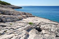 Rotsachtige kust Stock Foto