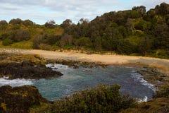 Rotsachtige kust bij Weinig Baaihaven Macquarie Australië Royalty-vrije Stock Fotografie