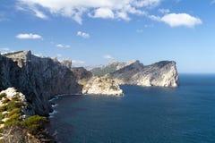 Rotsachtige kust met klippen in het noorden van de Baleaarse Eilandwandelgalerij royalty-vrije stock afbeelding