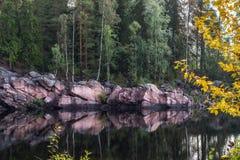 Rotsachtige kust van de rivier stock afbeeldingen