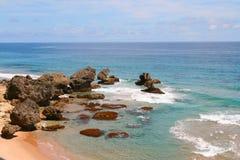 Rotsachtige kustlijn Stock Foto