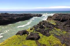 Rotsachtige lavaoever, de kust van Oregon. Royalty-vrije Stock Foto