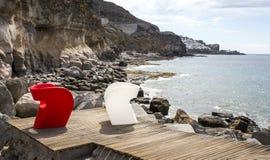 Rotsachtige oever, Puerto Rico, Gran Canaria - 2 stock fotografie