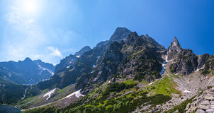 Rotsachtige piek in Tatra Mountais Royalty-vrije Stock Afbeelding