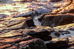 Rotsachtige strandzonsondergang Royalty-vrije Stock Afbeeldingen
