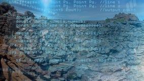 Rotsberg met programmacodes royalty-vrije illustratie