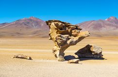 Rotsboom in de Siloli-Woestijn, Bolivië stock foto