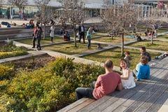 Rotschild st特拉维夫- 2017年3月04日:cen的Habima广场 免版税图库摄影