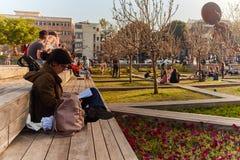 Rotschild st特拉维夫- 2017年3月04日:cen的Habima广场 免版税库存照片