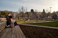 Rotschild st特拉维夫- 2017年3月04日:cen的Habima广场 库存图片