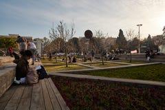 Rotschild st特拉维夫- 2017年3月04日:cen的Habima广场 库存照片