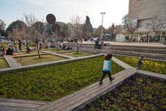 Rotschild st特拉维夫- 2017年3月04日:cen的Habima广场 图库摄影