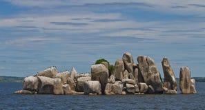 Rotseiland met aalscholvers in Meer Victoria Royalty-vrije Stock Foto