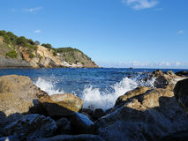 Rotsen bij het strand, Palamos, Costa Brava, Spanje Stock Afbeelding