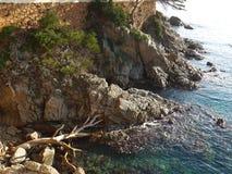 Rotsen bij het strand, S ` Agaro, Costa Brava, Spanje Stock Foto
