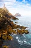 Rotsen bij oceaankust Royalty-vrije Stock Foto's