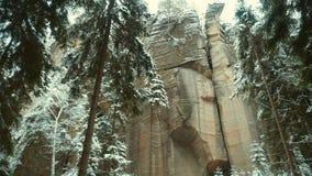 Rotsen in de beroemde rotsachtige stad van rotsen adrspach-Teplice De winter Royalty-vrije Stock Afbeelding