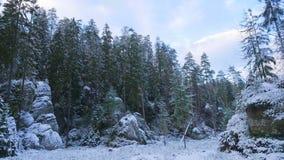 Rotsen in de beroemde rotsachtige stad van rotsen adrspach-Teplice De winter Stock Foto